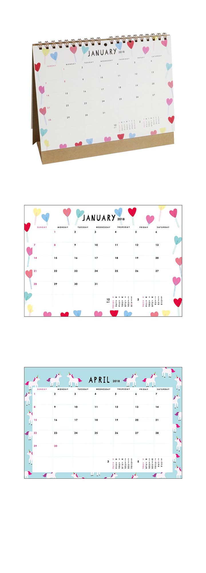 2018 シック卓上カレンダー