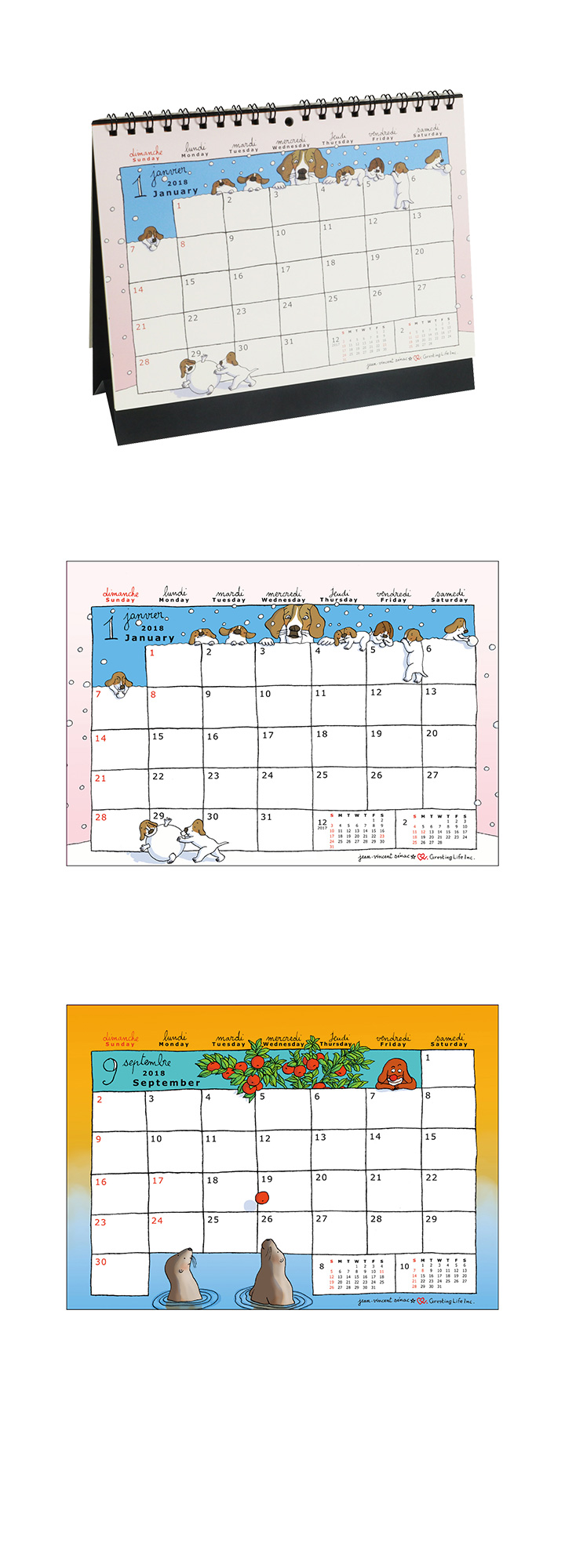 2018 ジャン・ヴァンサン セナック卓上カレンダー
