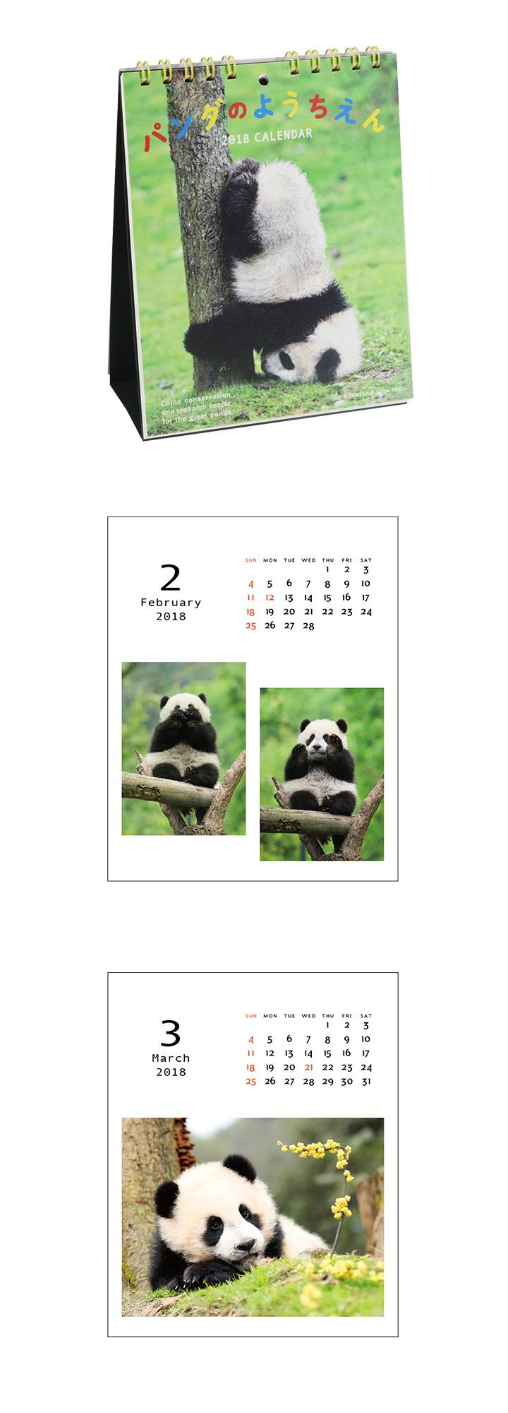 2018 パンダのようちえん卓上カレンダー