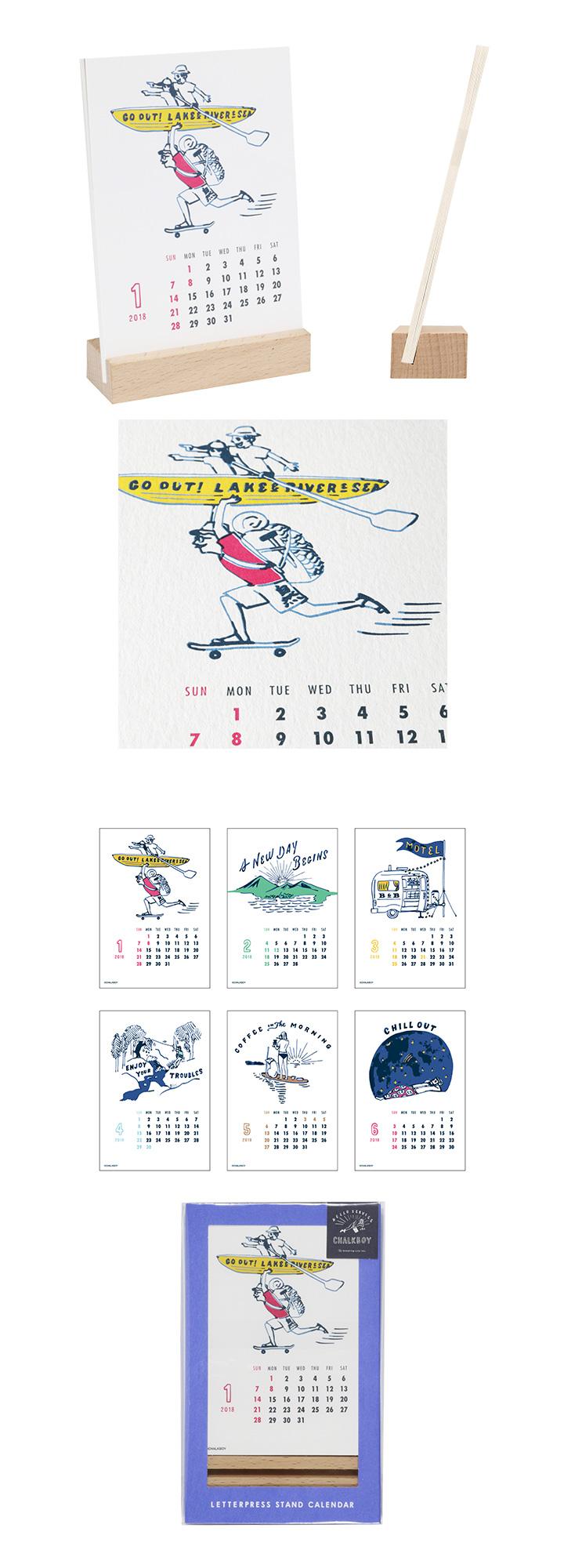 2018 レタープレススタンドカレンダー チュークボーイ